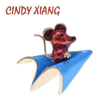 CINDY XIANG émail prendre Airplan souris broche enfants femmes broches broches mode bijoux 4 couleurs choisir chinois souris année broche(China)