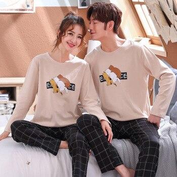 New Men Pyjamas Suit Autumn Plaid Pants Couple Pajamas Long Sleeve Pijama For Male Clothing Cotton Casual Nightie Sleepwear