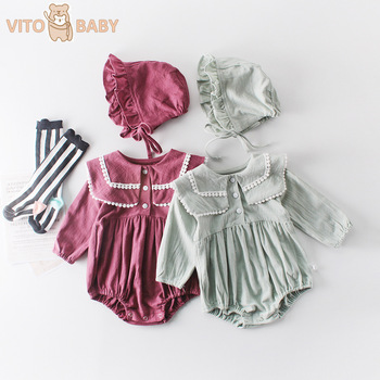VITO Baby Girls Romper With Hat Cotton Baby Girl Clothes Toddler Jumpsuit Laciness Neck Infant Baby Onesie Newborn Costume цена 2017