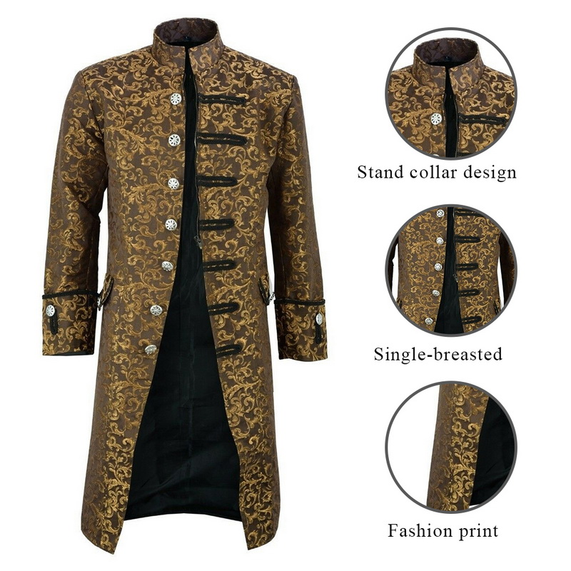 H13618ccc92cf4884863665a719ea0b724 HEFLASHOR Men Edwardian Steampunk Trench Coat Frock Outwear Vintage  Overcoat Medieval Jacket Cosplay Costume