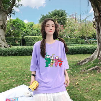 Women Funny Teletubbies T shirt Summer Top Cotton Printed Harajuku Korean Clothes Oversized camiseta mujer tee femme Tops - discount item  29% OFF Tops & Tees