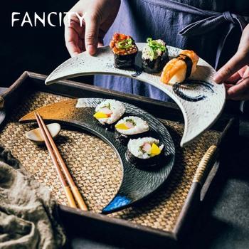 FANCITY płyta ceramiczna kreatywny duży księżyc talerz talerz sushi kuchnia japońska płaski talerz talerzyk deserowy ciasto płyta kluska plat tanie i dobre opinie CN (pochodzenie) Geometryczny Wzór Plac