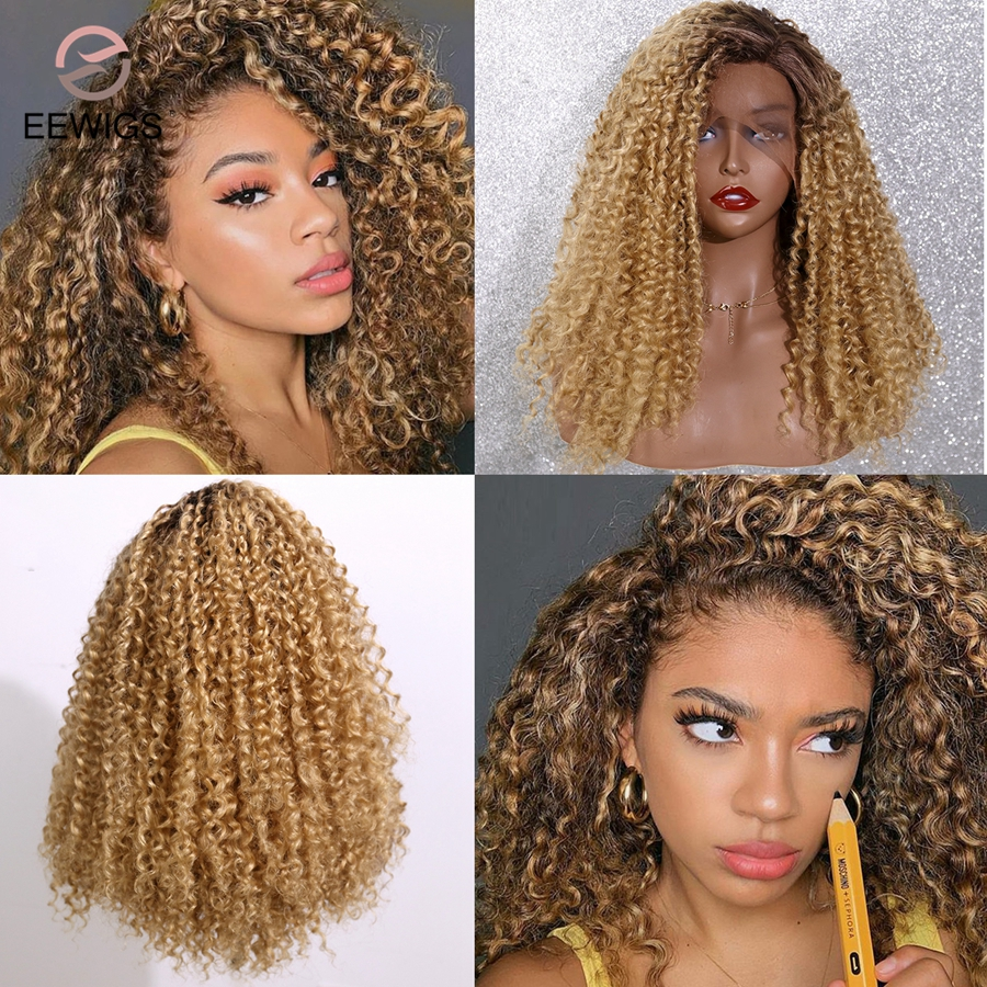 EEWIGS Short Synthetic-Wig Roots Afro Honey-Blonde Curly Lace-Front Brown Kinky Black title=