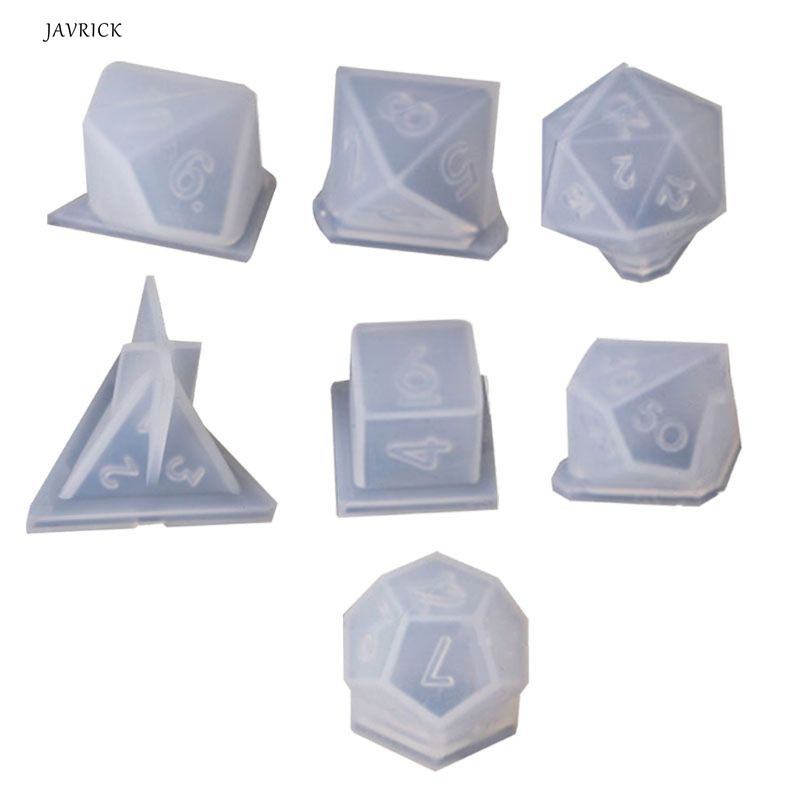 7 Shapes Dice Fillet Square Triangle Dice Mold Crystal Epoxy Resin Mold Kit Dice Digital Game Silicone Mould Art Craft