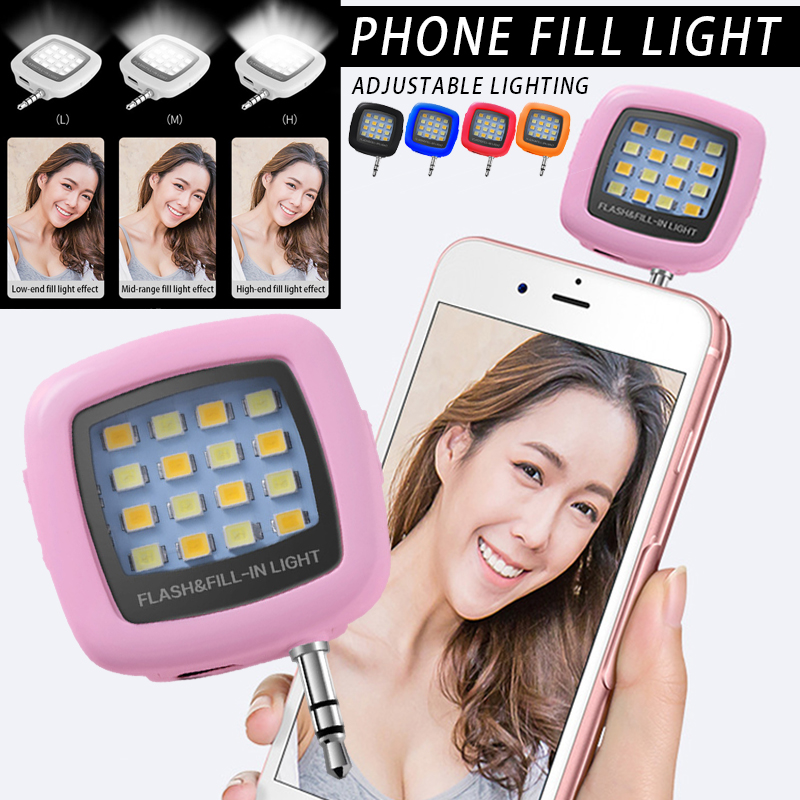 Mini Flash Fill Light 16 LEDs Fill Light 3.5mm Rechargeable Selfie Light For Mobile Phone Photography QJS Shop