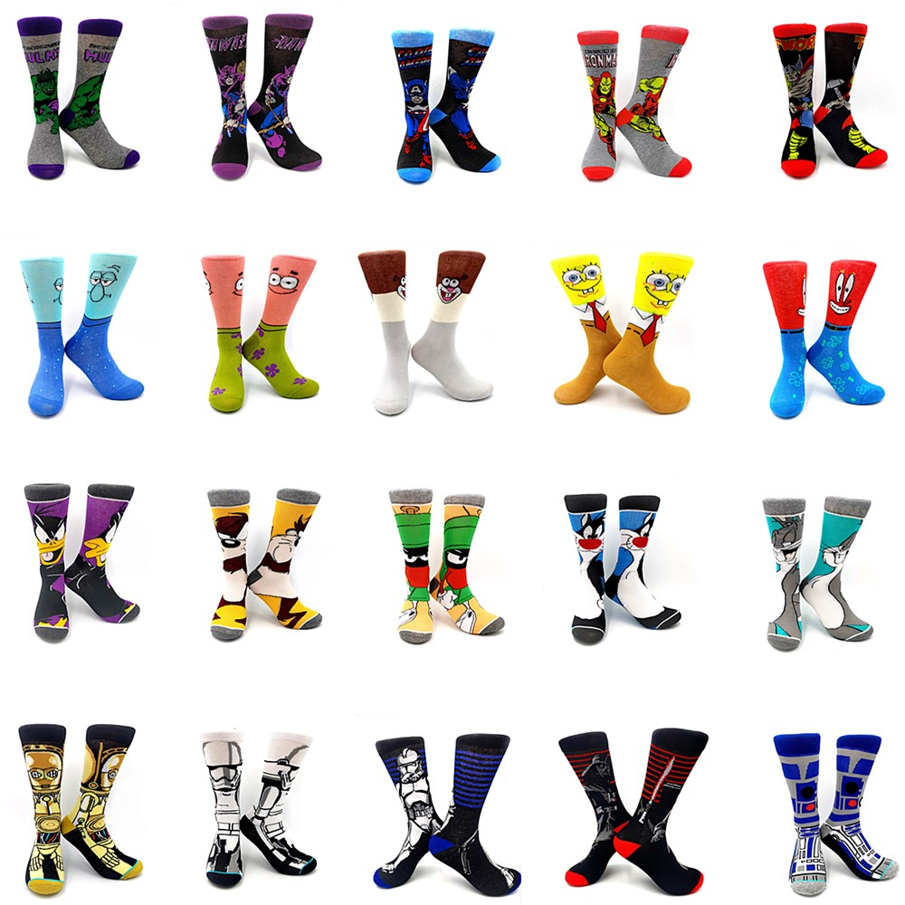 Fun Cartoon Anime Man Socks SpongeBob Star Wars Avengers Crazy Rabbit Happy Socks Novelty Creative Crew Tall Print Sock Man Gift