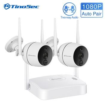 TinoSec CCTV Security Camera System 1080P WiFi Wireless IR-CUT IP Camera PIR NVR Kit Outdoor Waterproof  Video Surveillance Kit цена 2017