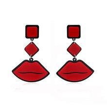 NJ Sexy Cute Personality Red Lip Drop Earring For Woman Hot Girls Love Night Club Long Hanging Earrings Gift Jewery