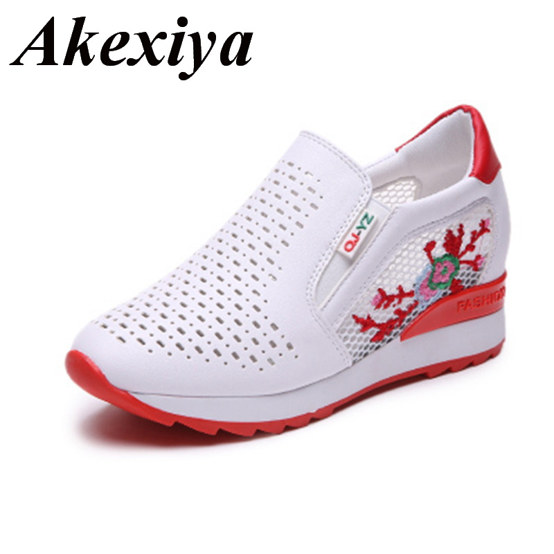 Women Running Shoes Summer Spring Slip On Loafers Flower Mixed Colors Hollow Out Increasing Internal Height White Sneakers 35-39