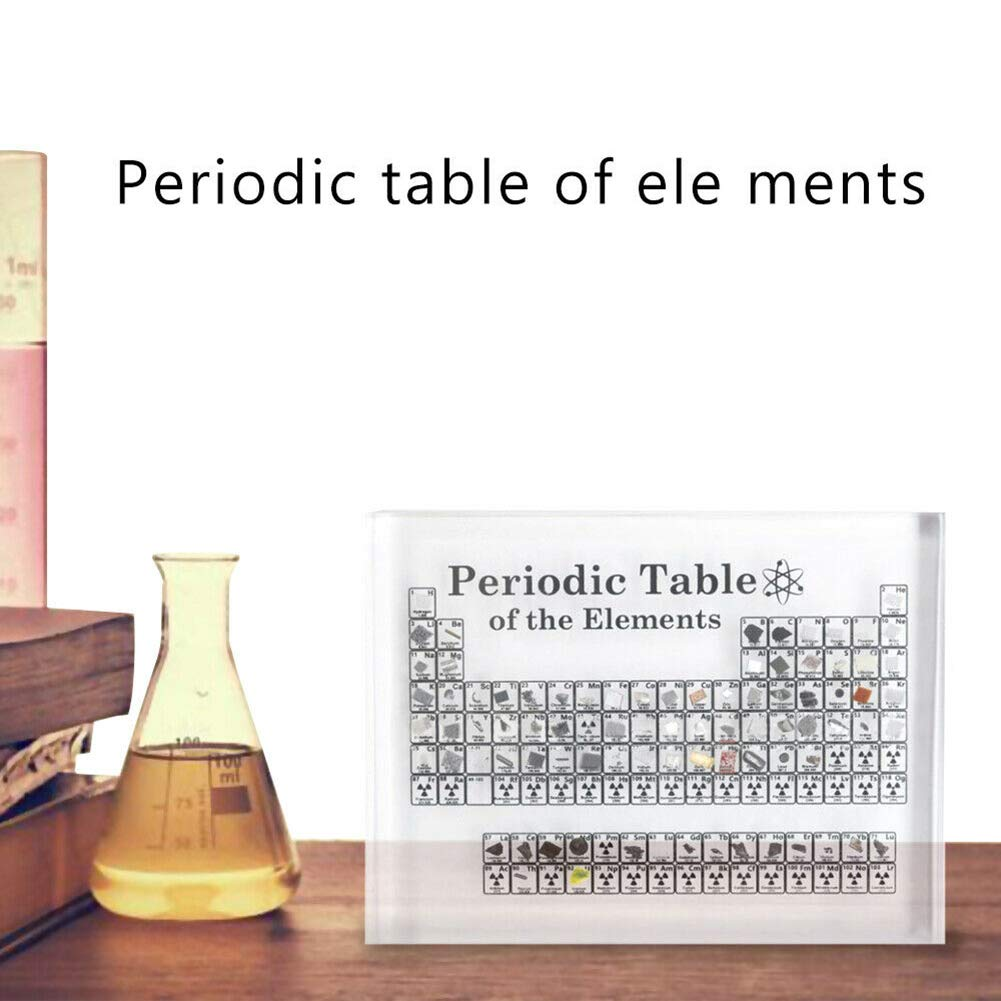 Acrylic Periodic Table Display With Real Elements Kids Teaching School Day Birthday Gifts Chemical Element Display Home Decor 6