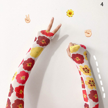 Ice Silk Arm Warmers Sleeves Cover Cute Print Flower Striped Sunscreen Cycling Driving Long Gloves Summer Fashion Accessories