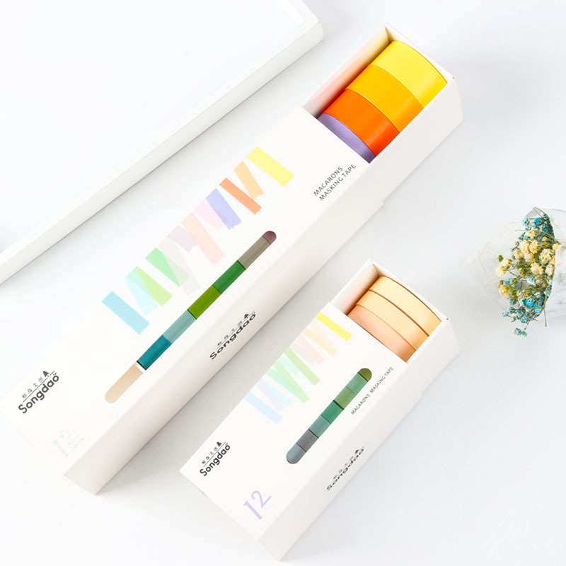 Macarons And Candy Color Series Set Cute Planner Manual Decorative Paper And Tape Tape School Supplies Stationery