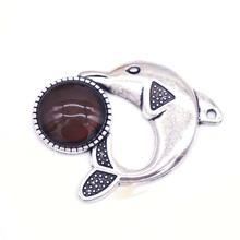 Mood Necklace Jewelry Pendants Color Stone Change Alloy Dolphin Shape Emotion Feeling Changing