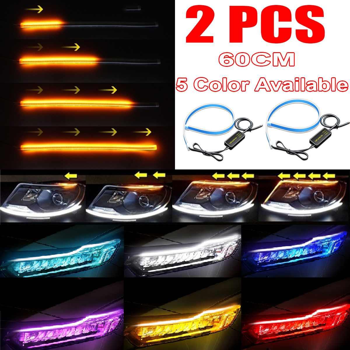 White 90cm Car Headlight Lamp LED SMD Strip DRL Daytime Light Tube 3014 DC12V