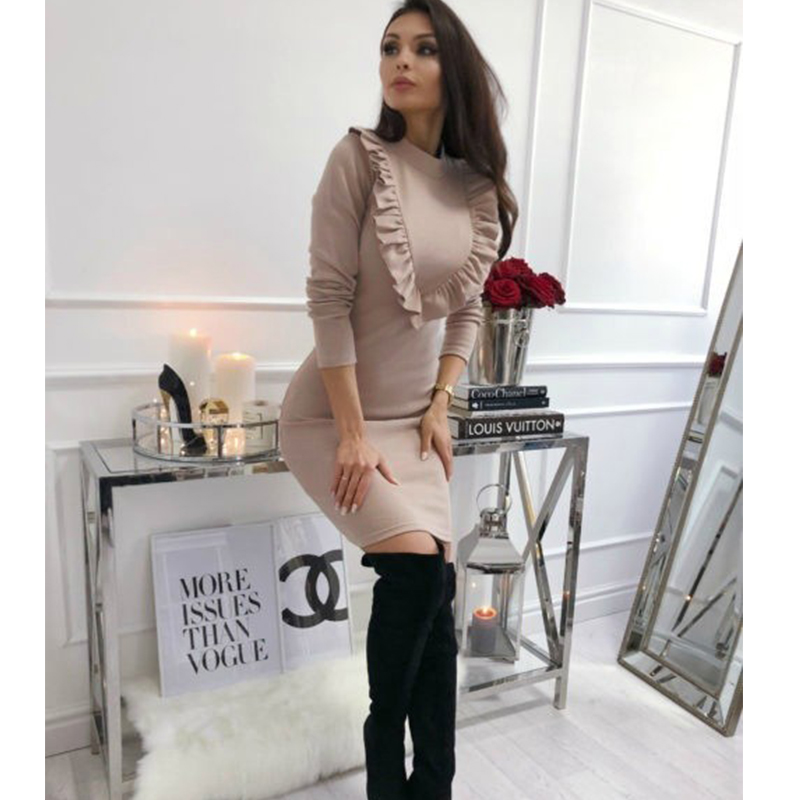 Ruffles Sheath Sexy Party Dress Ladies Slim Long Sleeve Autumn Winter Elegant Dress Women 2019 Solid Fashion Casual Mini Dress