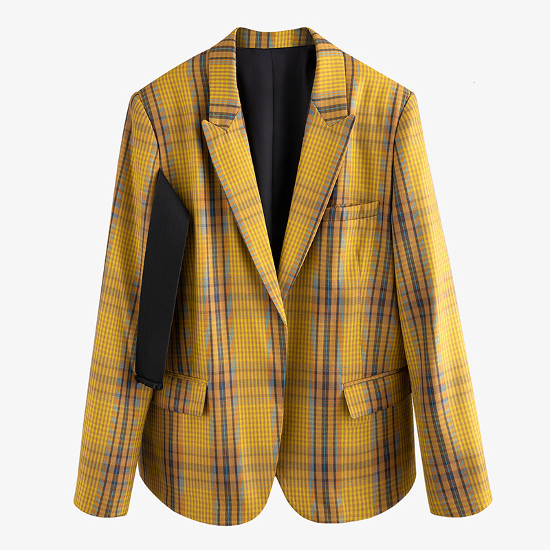 Women Yellow Plaid Split Big Size Blazer New Lapel Long Sleeve Loose Fit  Jacket Fashion Tide Spring Autumn 2020 Y906