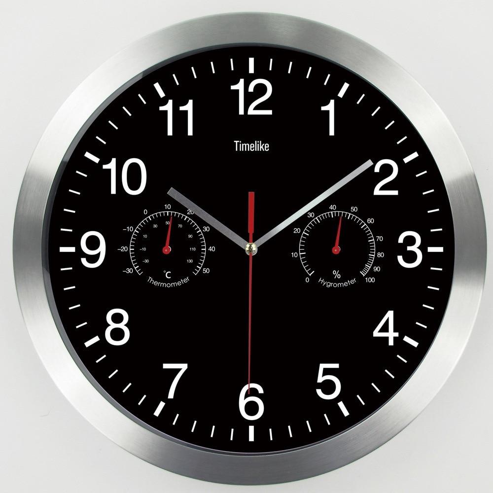 Actuellement disponible en gros 12 pouces horloge murale en métal avec température humidimètre caractéristiques salon chambre horloges muet