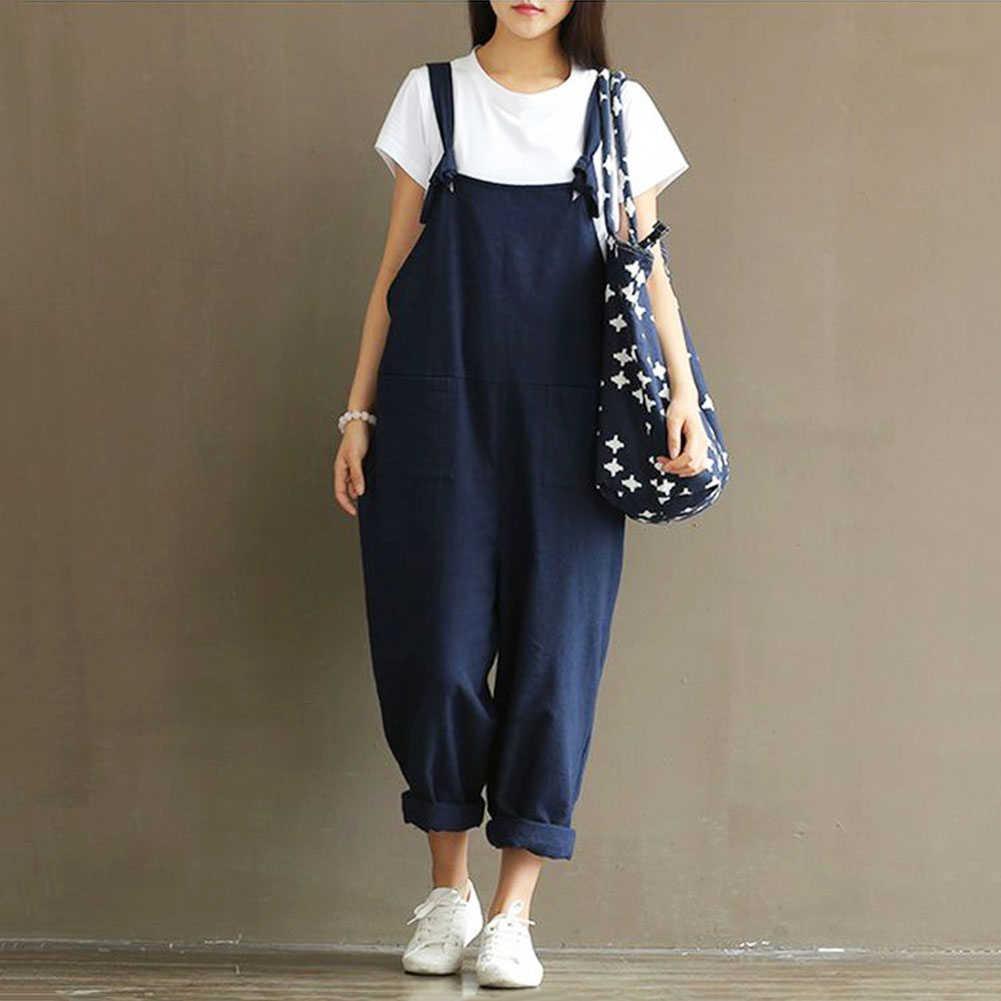 HEIßE Mode Frauen Mädchen Lose Feste Overall Strap Harem Hosen Damen Gesamt Hosen Casual Playsuits Plus Größe S-5XL