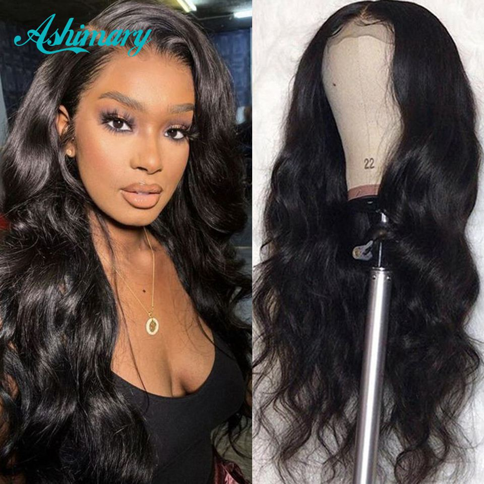 Ashimary 13x4 Lace Frontal Wigs Pre Plucked With Baby Hair Remy Body Wave Brazilian Hair Lace Front Human Hair Wigs