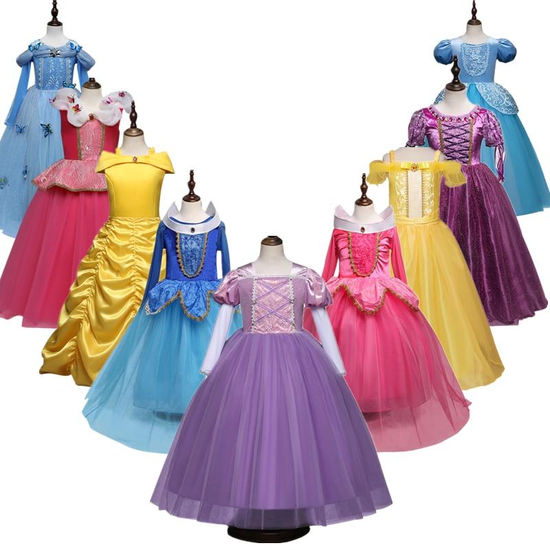 Платье принцессы для девочек, костюм на Хэллоуин для детей для костюмированной вечеринки вечерние Рапунцель; Платье Золушки Белоснежки, де...