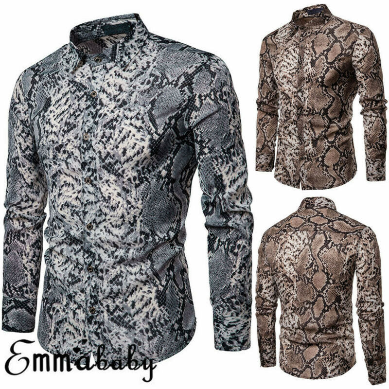 2019 Fashion Trend Men's Long Sleeve Button Shirts Slim Fit Luxury Stylish Unique Snake Skin Pattern Autumn Tops Clothes