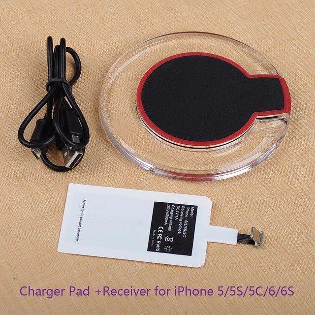 Cargador inalámbrico QI, panel de carga con receptor inalámbrico para Iphone 5s se 6s 7 plus, cargador inalámbrico Qi, receptor adaptador