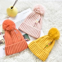 цены Winter Lovely Cable Knit Hedging Cap Fashion Wild Warm Chunky Beanie Hats Thicken With Pompon Children's Hat Yellow And Pink