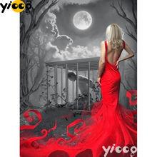 Полноразмерная/круглая алмазная живопись «дама в красном платье»