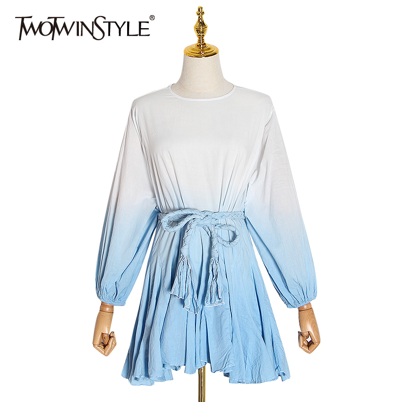 TWOTWINSTYLE Hit Color Print Women's Dress O Neck Puff Sleeve High Waist Lace Up Mini Dresses Female 2020 Autumn New Fashion