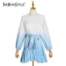 Mini Dresses Puff-Sleeve TWOTWINSTYLE O-Neck Print Color New-Fashion Autumn Female Hit