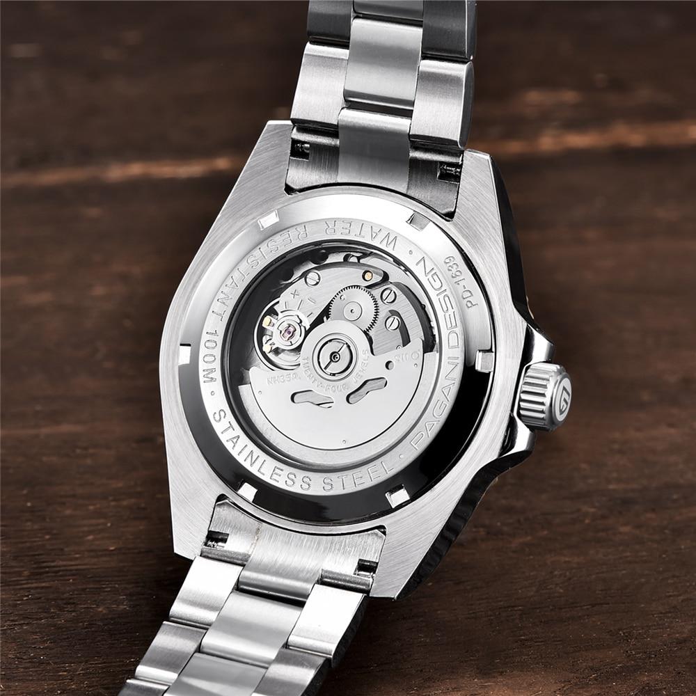 2019 Новые Фирменные Роскошные автоматические механические часы PAGANI, мужские водонепроницаемые деловые механические часы из нержавеющей стали - 6