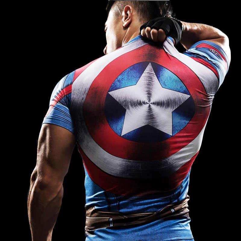 Punisher Gym Olahraga Lengan Pendek T Shirt Pria Kaos Pria Merek TEE Captain America Superman Tshirt Kebugaran Kompresi Kemeja