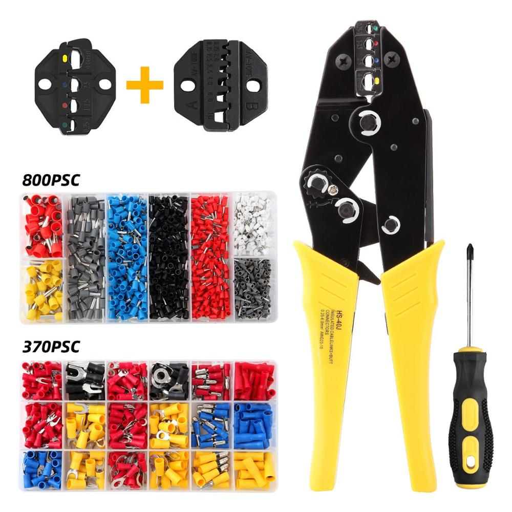 HS-40J HS-10WF Crimping Pliers For Insulated Non-insulated Ferrules Tube Terminals Self-adjusting 0.25-10mm2 23-7AWG Brand Tools