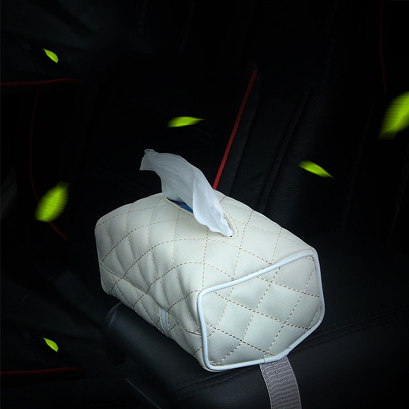 Car Mounted Tissue Box Household Car Lozenge Soft Resilient Leather Seat Type Tissue Box Supplies Chi Good