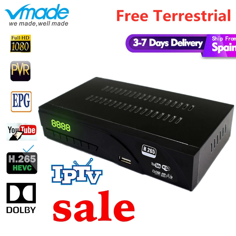 Hot-selling DVB-T2 H.265 HAVC Full HD 1080P caixa de TV com TV SCART Terrestrial receiver apoio AC3, dolby, Youtube Set Top Boxes