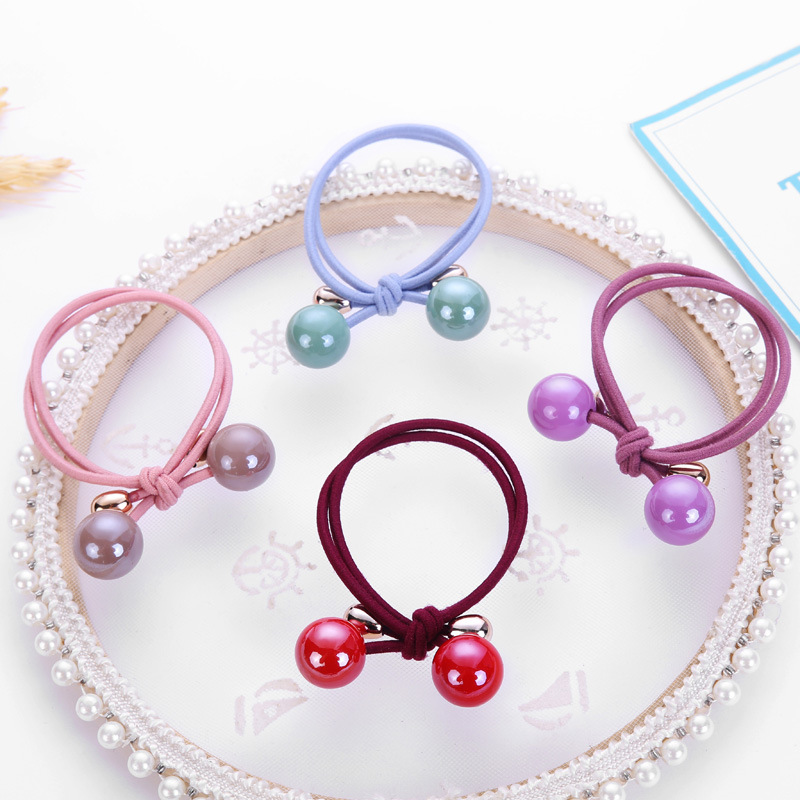 Women Simple Candy Color Small Solid Double Ball With Elastic Rope Handmade Hair Band Kids Girls Ladies Cute Hair Accessories