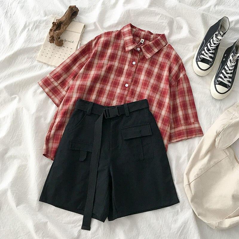 Summer Harajuku Short Set Women Casual Lattice Short Sleeve Shirt + High Waist Safari Style Shorts With Blet Matching Set