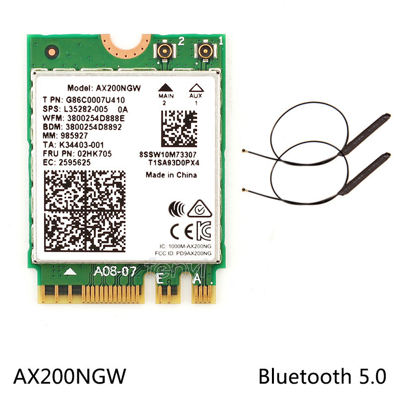 Image 2 - Dual Band Wifi 6  Wireless 2400Mbps AX200NGW NGFF M.2 Wlan Bluetooth 5.0 Wifi Card 802.11ac/ax For Intel AX 200 With antennasNetwork Cards   -