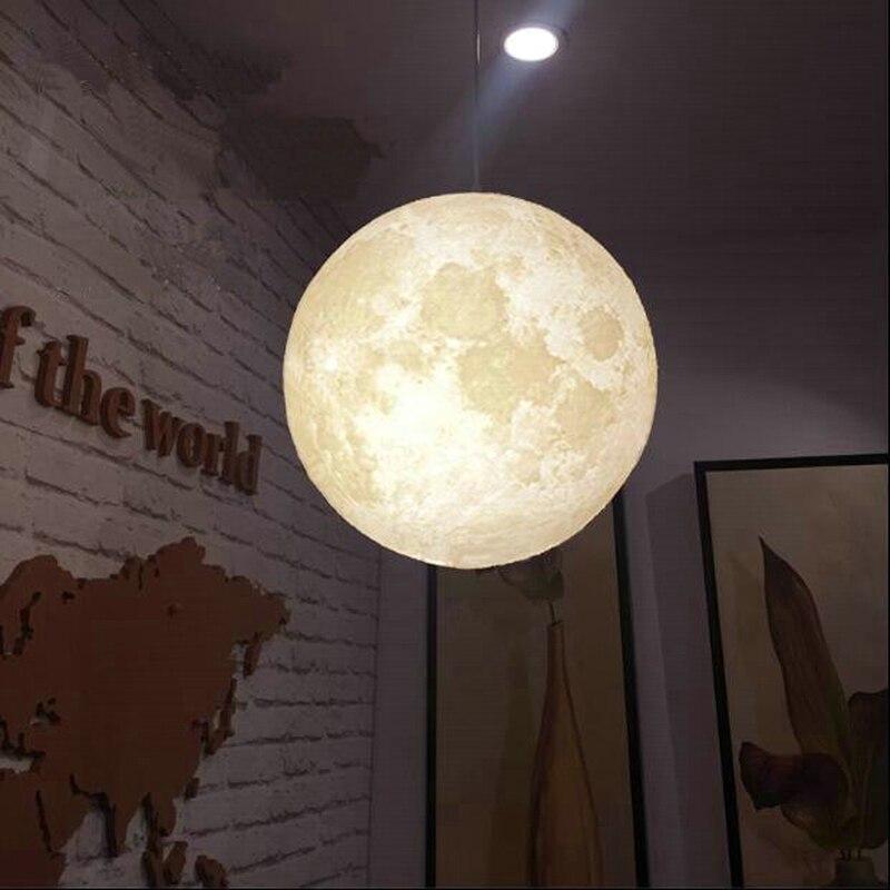 LED 3D Print Moon Pendant Light Living Room Bedroom Decoration Hanging Lamp E27 Restaurant Lighting Luminaire Baby Pendant Lamps