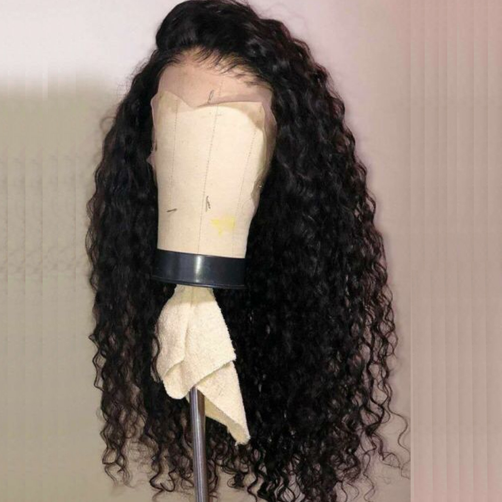 Preplucked 360 Deep Part Lace Frontal Human Hair Wigs Density Brazilian Deep Water Wave Human Hair Wigs For Women Black