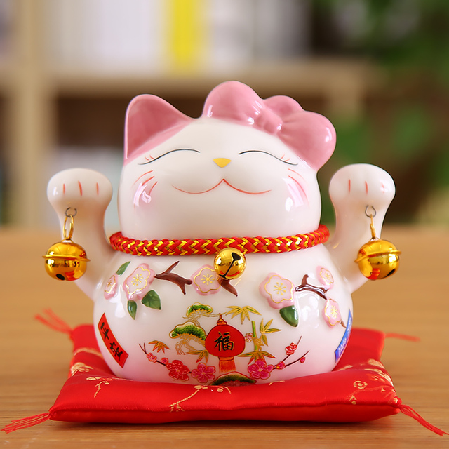 5 inch Maneki Neko Lucky Cat Ornament Ceramic Fortune Cat Statue Home Decorative Gift Feng Shui Beckoning Cat Piggy Bank 4