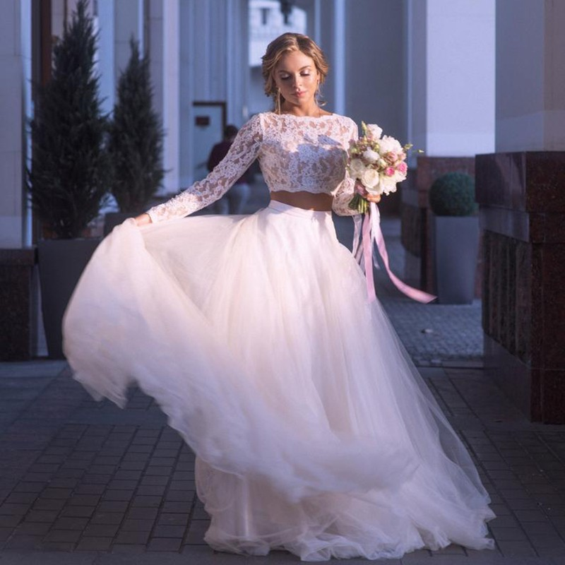 Cheap Two Pieces Wedding Dresses With  Illusion Full Sleeves  Sexy See Through Beach Bridal Dress Tulle Vestido De Noiva