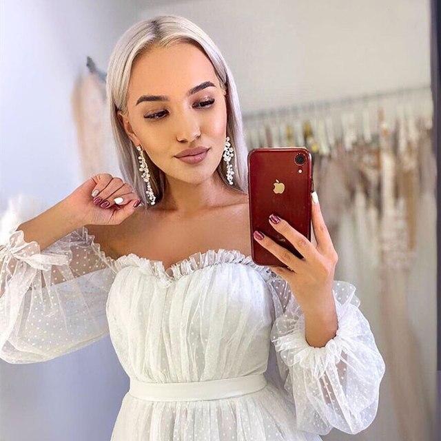 Lace Light Wedding Dress платья Bride Gown Vestido De Novia Robe De Mariage Vestidos Sweetheart Collar Off Shoulder Long Sleeves 2