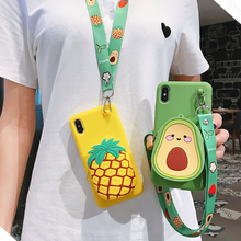 3D Cute Avocado Pineapple Strawberry Wallet lanyard Phone Case For iPhone 8 XR Case 6 7 Plus X XS Max Soft silicone Strap Cover