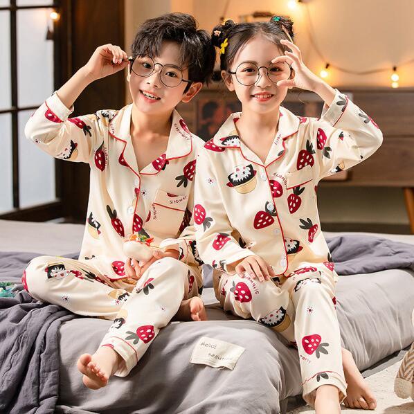 Kids Pajamas 2021 autumn winter Girls Boys Sleepwear Nightwear Baby Clothes Animal Cartoon Pajama Sets Cotton Children's Pyjamas