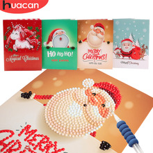 HUACAN 5d Diamond Painting Christmas Cards Embroidery Birthday Paper DIY Greeting Postcards Cartoon Kids Gift