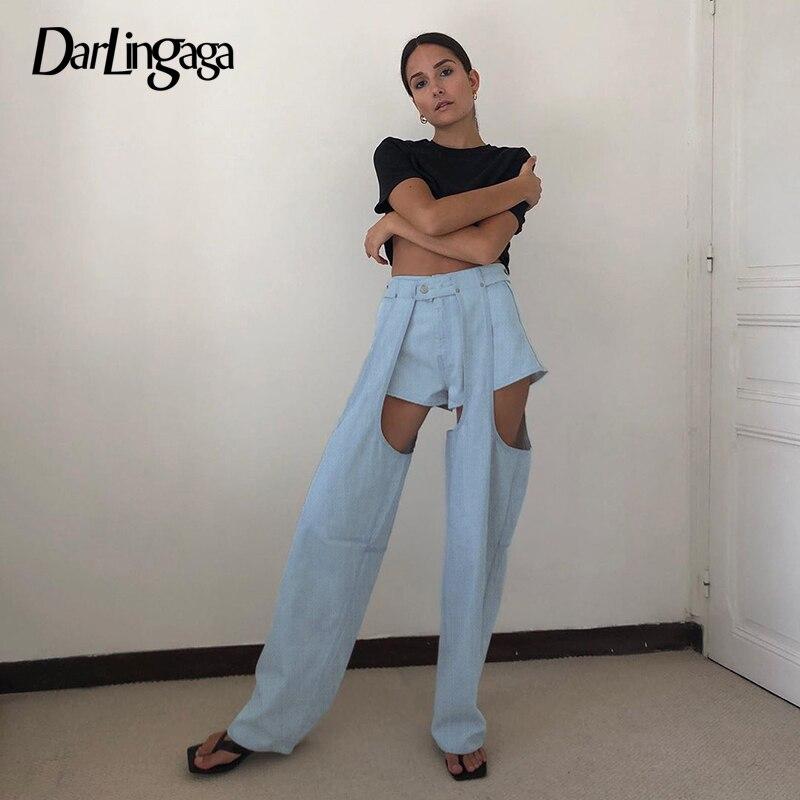 Darlingaga Streetwear Patchwork Straight Denim Pants Women Jeans Detachable Hollow Out High Waist Pants Fashion Two Piece Capris