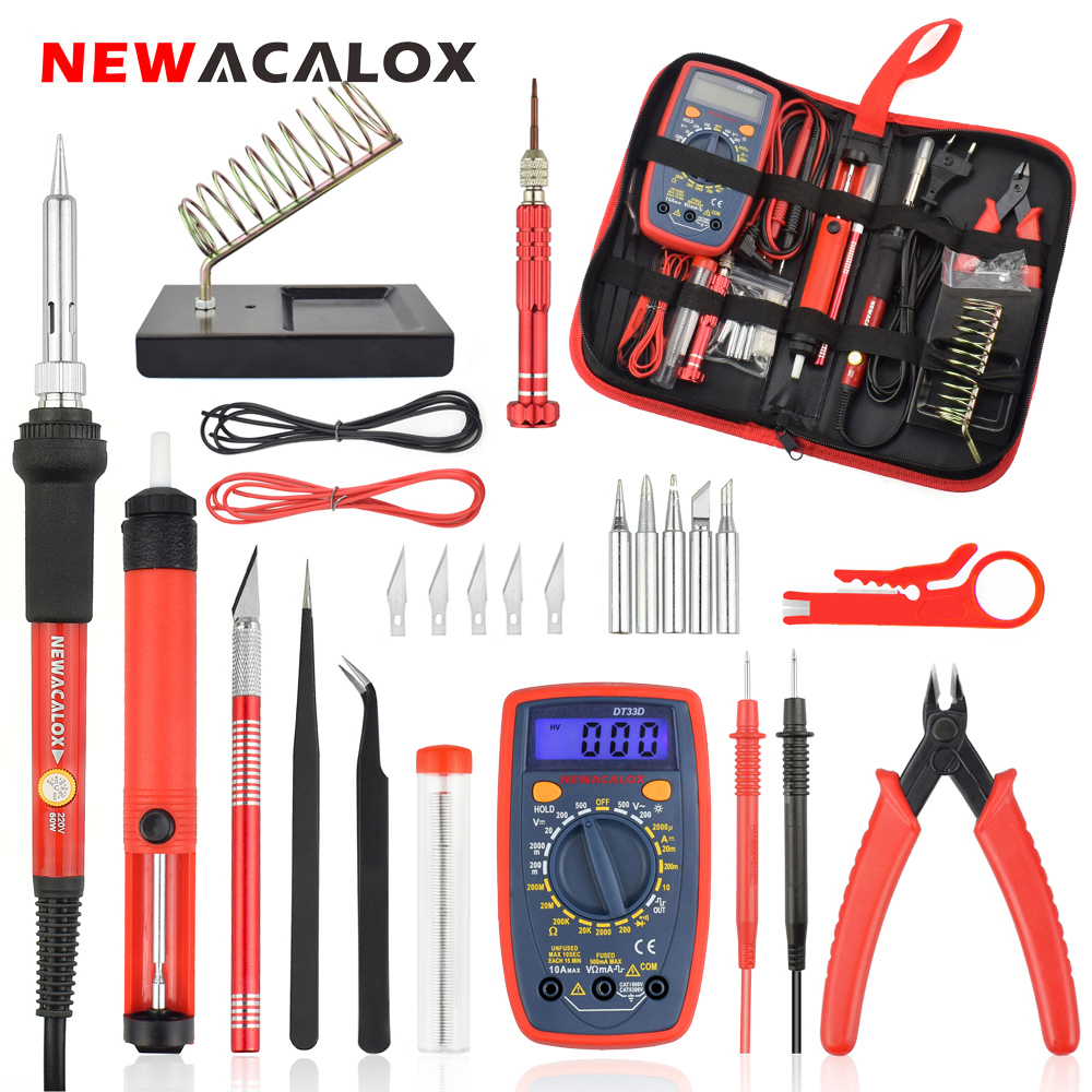 NEWACALOX EU/US 60W/80W Electric Soldering Iron Kit Digital Multimeter LCD Welding Gun Set Desoldering Pump Welding Repair Tool