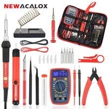 Купить с кэшбэком NEWACALOX EU/US 60W/80W Electric Soldering Iron Kit Digital Multimeter LCD Welding Gun Set Desoldering Pump Welding Repair Tool