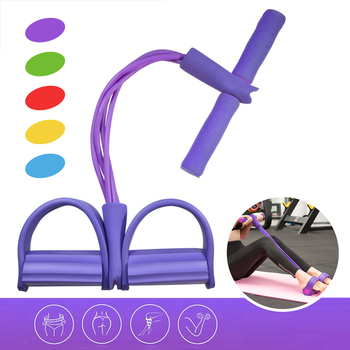 Fitness Gum 4 Tube Resistance Bands Latex Pedal Exerciser Sit-up Pull Rope Expander Elastic Bands Yoga equipment Pilates Workout эспандер liveup dual tube exerciser